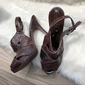 BCBG snakeskin slingback platform heels 7.5